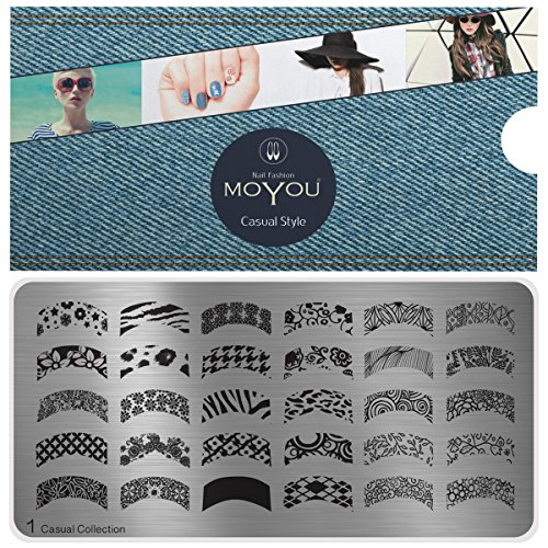 MoYou's XL Casual 1 Stamping Schablone, Nail Art Stampling - Nagel Lack Stempel, Französisch Maniküre