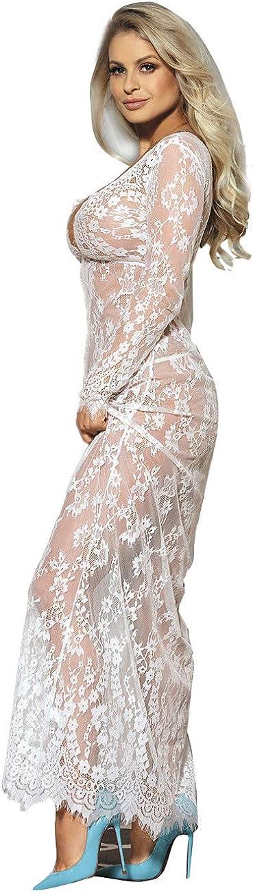 ohyeah Lingerie for Women Plus Size Long Gown Lingerie Floral Lace Nightgown Sleepwear Chemise Lace Maxi Maternity Dress