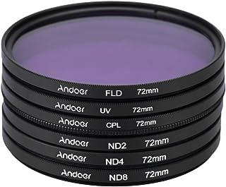 Andoer 72mm UV + CPL + FLD + ND(ND2 ND4 ND8)フィルターキットセット 紫外線・円偏光・蛍光・減光フィルター Nikon Canon Sony Pentaxデジタル一眼レフカメラ用