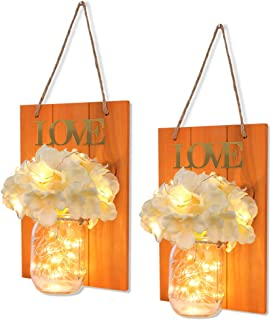 FineUsea Set of 2 Mason Jars Sconce, Rustic Home Decor Wall Wood Art Sconces Hydrangea Flowers LED Fairy Lights for Country House Office Dining Room Decor (Orange)
