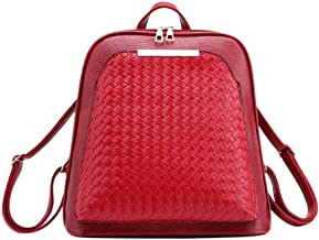 InnErsetting Woven Girls Backpacks Women Shoulder Handbags Leather School Knapsack for Adult Traveling Studying Working Red