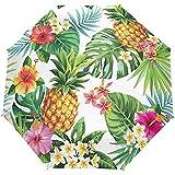 Piña Tropical Flor Floral Hojas de Palma Paraguas Abierto automático Paraguas de Lluvia Solar Paraguas Anti UV Plegable Compacto Automático