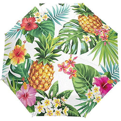 Tropische Ananas-Blumenblumen-Palmblatt-Selbstoffener Regenschirm Sonnenregen-Regenschirm Anti-UV, der kompakten automatischen Regenschirm faltet