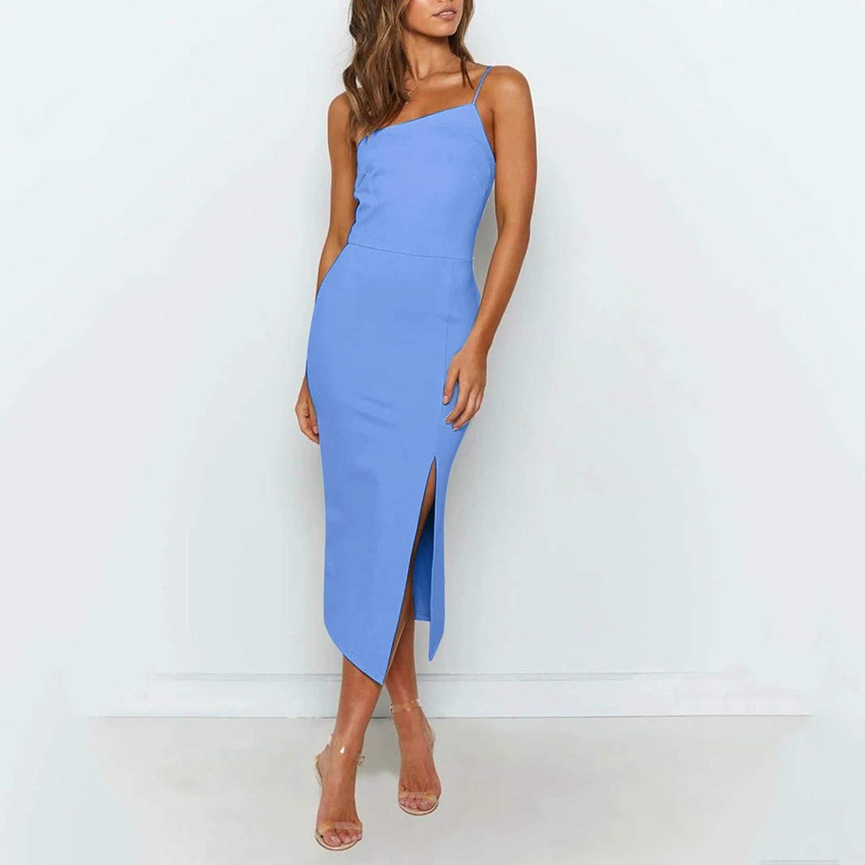 HonpraD Women's Sleeveless Tube Top Strapless Sexy Bodycon Midi Night Date Dresses Split Basic Club Dress