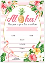 25 Luau Tiki BBQ, Hawaiian Pool Party Invitations, Girls Aloha Pineapple Tropical Beach Flamingo Invite, Summer Swim Kids Adult Birthday, Baby or Bridal Shower Cards, Idea Printable Template Supplies
