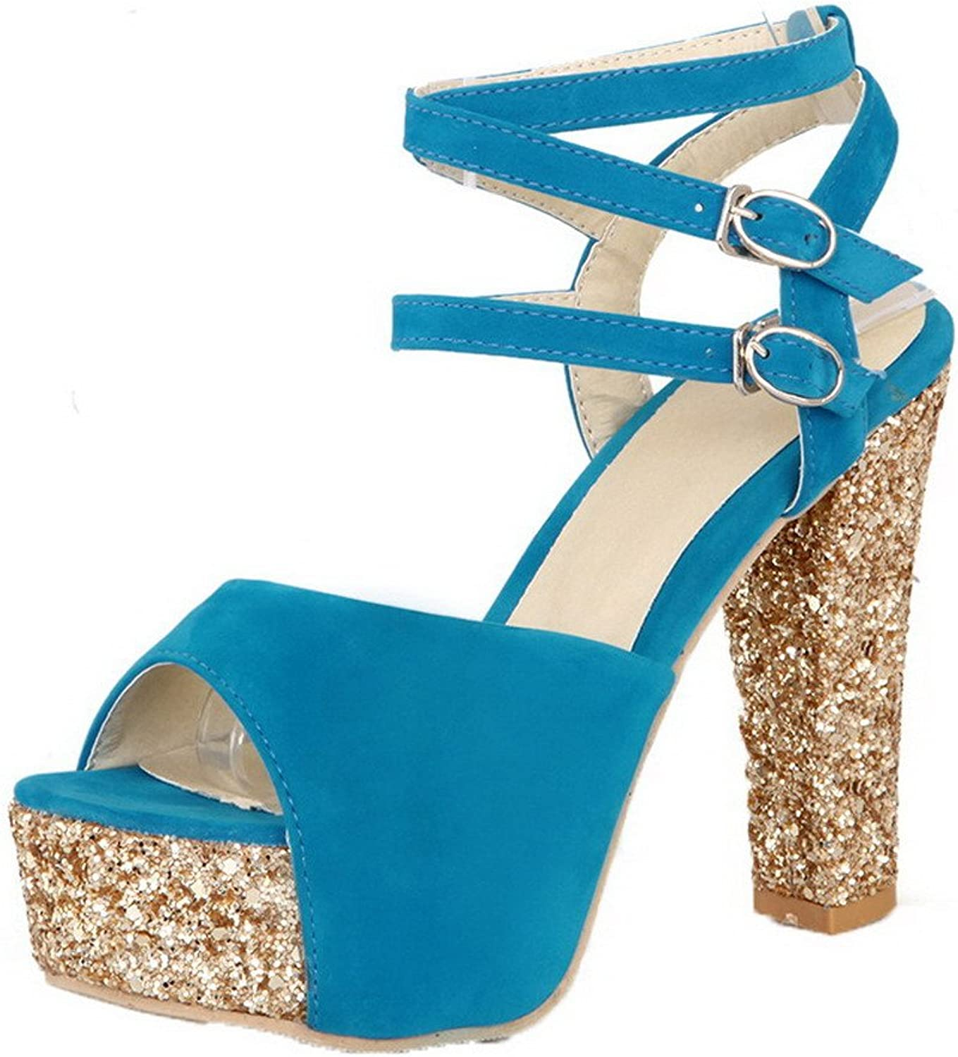 WeenFashion Women's Buckle Open-Toe High-Heels Frosted Solid Sandals