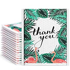 【Unique Color】The Usable Size is 8.5x11 inches. Fu Global Green Tropical Leaves with thank you bubble mailers make your package more attractive. 【Light Weight】This pack of 25 6x10 inches padded envelopes are made from heavy duty 100% virgin plastic,t...