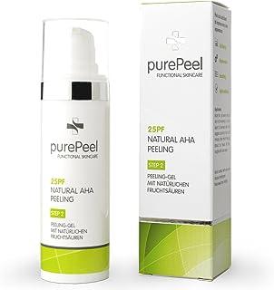 purePeel natürliches Gesichtspeeling-Gel/Natural AHA-Fruchtsäure-Peeling 25pf, 30 ml bei Fältchen, unreiner Haut, Unreinheiten, Mitessern, Pickeln & Pusteln