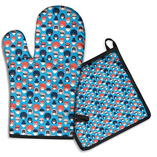 Oven Mitt and Pot Holder Sets, 2PCS High Heat Resistant Oven Mitt with Kitchen Towels Thick Cotton Oven Glove Coronavirus Free 2020 Social Distancing Home Oven Baker