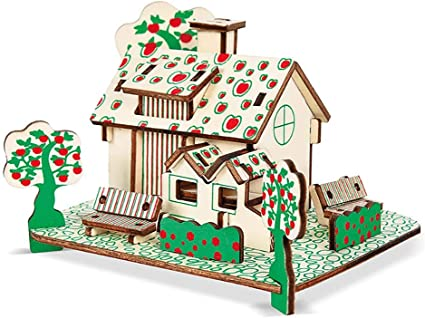 Kids Wooden 3D House Model Assembly Puzzles Educational Building Toys Woodcraft