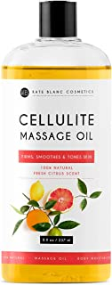 Anti Cellulite Treatment Massage Oil 8oz by Kate Blanc. 100% Natural, Deep Penetrative Formula. Targets Unwanted Fat Tissues to Improve Skin Firmness and Softness. Relieves Joint and Muscle Pain.