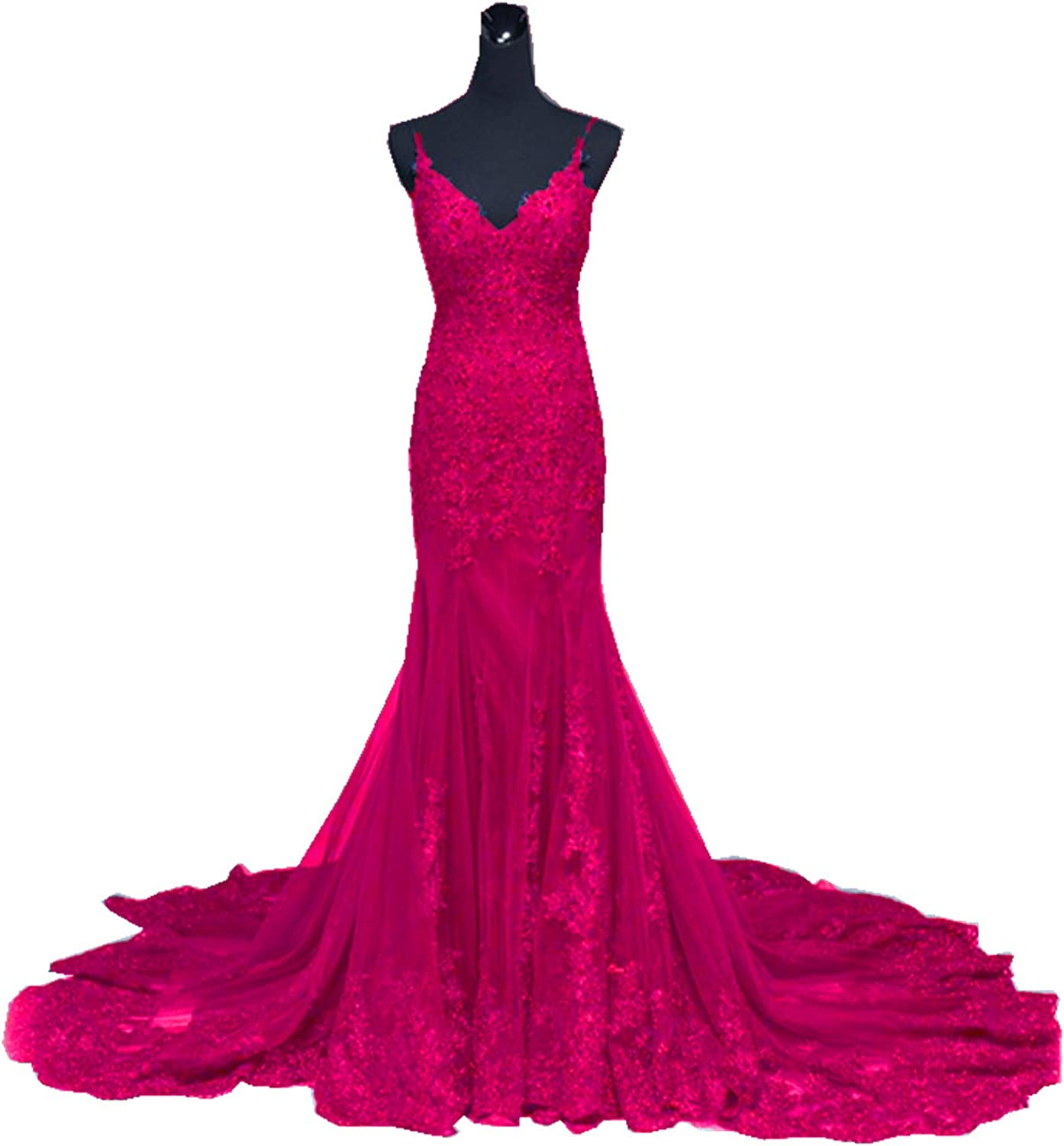 Ruiyuhong Women's Lace Mermaid Evening Dresses Spaghetti Wedding Party Gown with Train