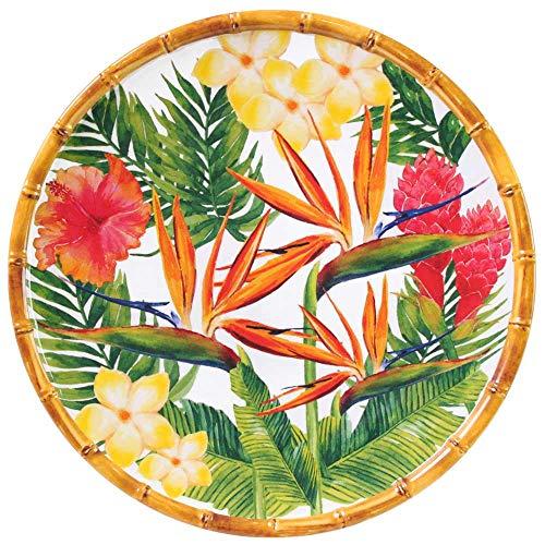 Les Jardins de la Comtesse - Grande Assiette Plate Motif Fleur Jaune Verte Rose - Assiette en Mélamine du Service de Table Fleurs Exotiques - Collection Vaisselle MelARTmine - Ø 28 cm
