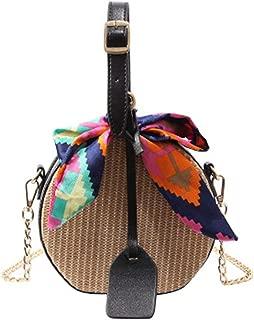 Straw Bag Crossbody Bags For Girls Fashion Scarves Round Saddle Bag Rattan Woven Shoulder Messenger Bags Lady Tote Handbag