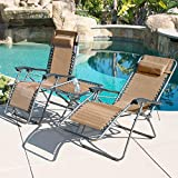 BELLEZE Set of 2 Zero Gravity Chair with Table Set, Reclining Patio Outdoor Lounge Chairs - Tan