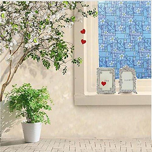 DUOFIRE窓用フィルム目隠しシートガラスフィルム窓めかくしシート遮熱断熱シート紫外線UVカットステンドグラスシール水で貼る貼り直し可能おしゃれな花柄インテリアシール(DP003A,0.6MX2M)
