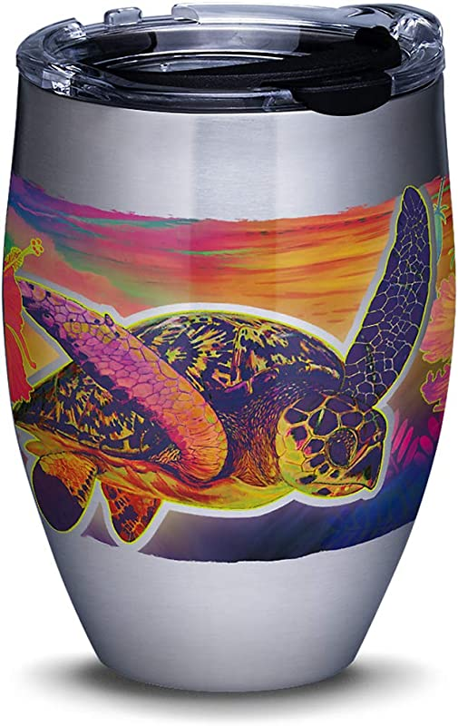 Tervis 1312111 Guy Harvey Neon Turtle Stainless Steel Insulated Tumbler With Clear And Black Hammer Lid 12oz Silver