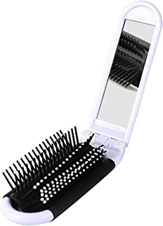 SODIAL Portable Travel Folding Hair Brush With Mirror Compact Pocket Size Comb-White