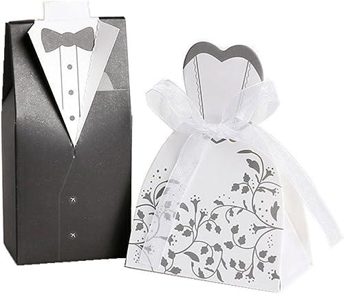 Hxhome 100pcs mariée et Boîtes à dragées pour mariage (50Pcs marié et 50pièces)