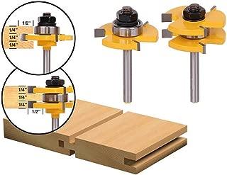 2Pcs Tongue and Groove Router Bit Set, YWKOW Wood Door Flooring 3 Teeth Adjustable,1/4