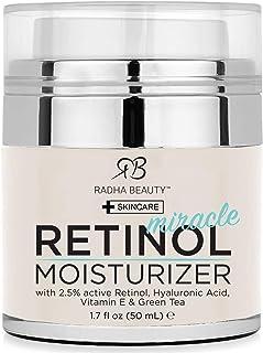 Radha Beauty Crema hidratante milagrosa de retinol para la cara con retinol, ácido hialurónico, vitamina E y té verde (la mejor crema hidratante de día y de noche) 50mL