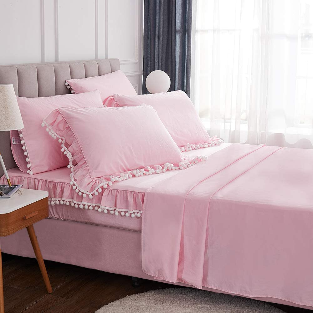 FADFAY 100% Cotton Queen Sheet Set Pink Farmhouse Bedding Pom Pom Bed Sheet 4 Pc with Ruffle Pillowshams - Soft 600 TC Cotton- Deep Pocket Fitted Sheet 17.5 Inch in 2020
