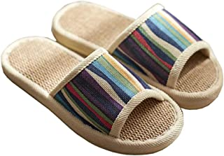 Ladies Linen Slippers,Home Non-Slip Wood Floor Slippers, Linen Breathable Sweat-Absorbent Antibacterial Outdoor Sandals And Slippers