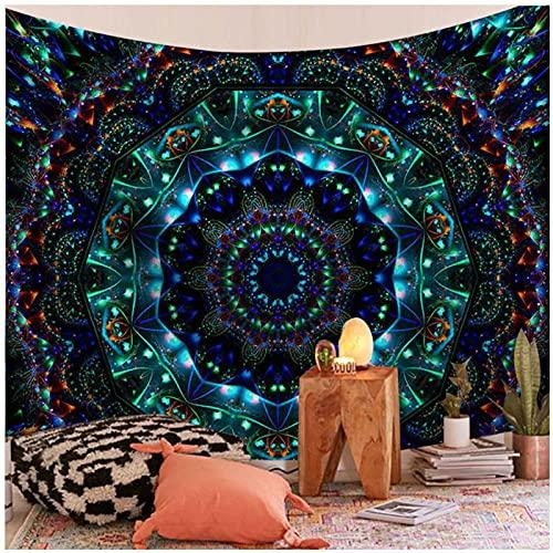 BD-Boombdl Tapiz de montaje en pared azul Mandala arte de pared montaje en pared manta de playa Camping viaje colchón tapiz bohemio para dormir 59.05'x51.18'Inch(150x130 Cm)