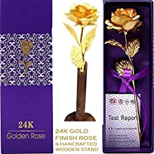 Msa Jewels 24K Gold Rose with Gift Box (30X10X8 cm, Golden Rose Gift)