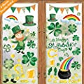 Ivenf St. Patricks Day Decorations Window Clings Decor, Large Shamrocks Leprechaun Top Hat Gold Coins for Kids School Home Office Accessories Party Supplies Gifts, 6 Sheets 105 pcs