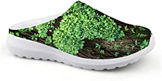 AXGM Men's Slippers Mesh Clogs Mules Beach Shoes Green Leaf Print Fashion Slipper Adult Leisure Shoes Low Back Garden Shoes