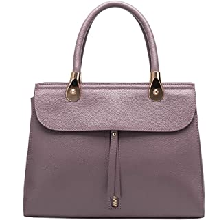 Fashion Simple Multi-Function Large Capacity Shoulder Bag Shoulder Slung Leather Handbag (Color : Purple)