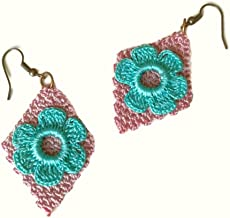 Pale Turquoise, Plum Flower Crochet Earrings