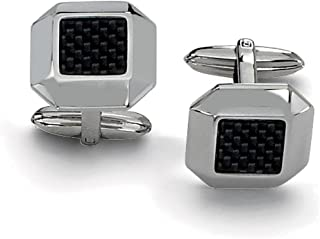 Lex & Lu Chisel Stainless Steel Black Carbon Fiber Cuff Links 17mm