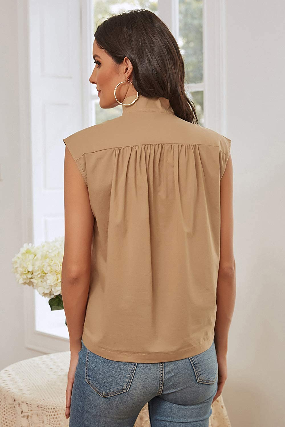 A Grain of Wheat Women's Casual Cap Sleeve Button Down Tank Top Stand Collar Pleated Shirt Blouse