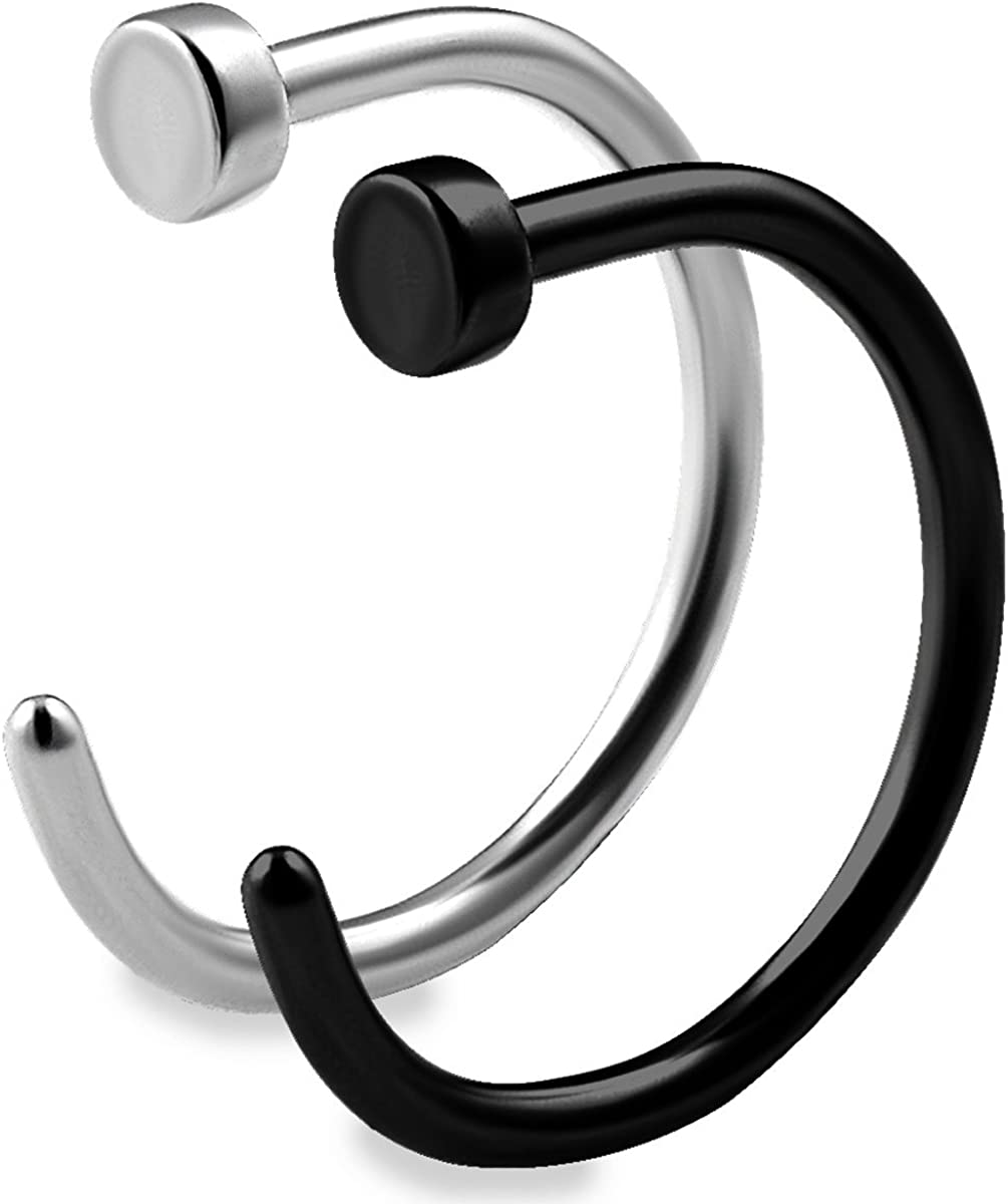 It is very popular bodyjewellery 2pcs Max 77% OFF 20g 5 16 Nose Nostril Hoop Stud Ring Piercing