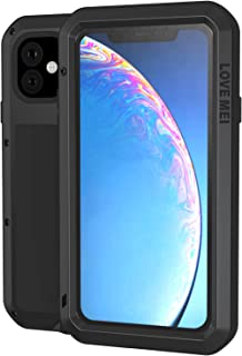 LOVE MEI Case for iPhone 11 6.1 Inch 2019 Release with Scratch Proof Tempered Glass Screen Protector Full Body Shockproof Wireless Charging Heavy Duty Case (Black)