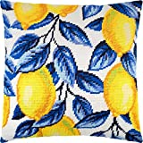 Lemons. Needlepoint Kit. Throw Pillow 16×16 Inches. Printed Tapestry Canvas, European Quality