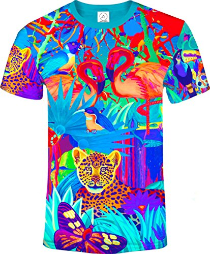 3Dトロピカルライオンバタフライバード動物花柄ブラックライトUVネオングロー蛍光Tシャツ男性