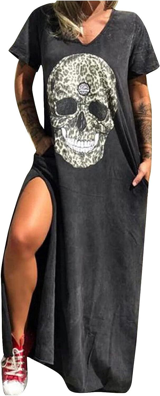 melupa Women Skull Print Short Sleeve Loose Pocket Oversize Tunic Dress Summer Casual Beach Side Slit Long T-Shirt Maxi Dress