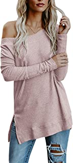 Msikiver Womens Cold Shoulder Sweaters Waffle Knit Sexy Long Sleeve Split Fall Loose Casual Slouchy Pullover Tops Pink