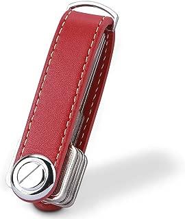 Bosiwee Smart Key Organizer, Compact Key Holder Leather Keychain, Folding Pocket Key Holder Chain (up to 16 Keys), Red
