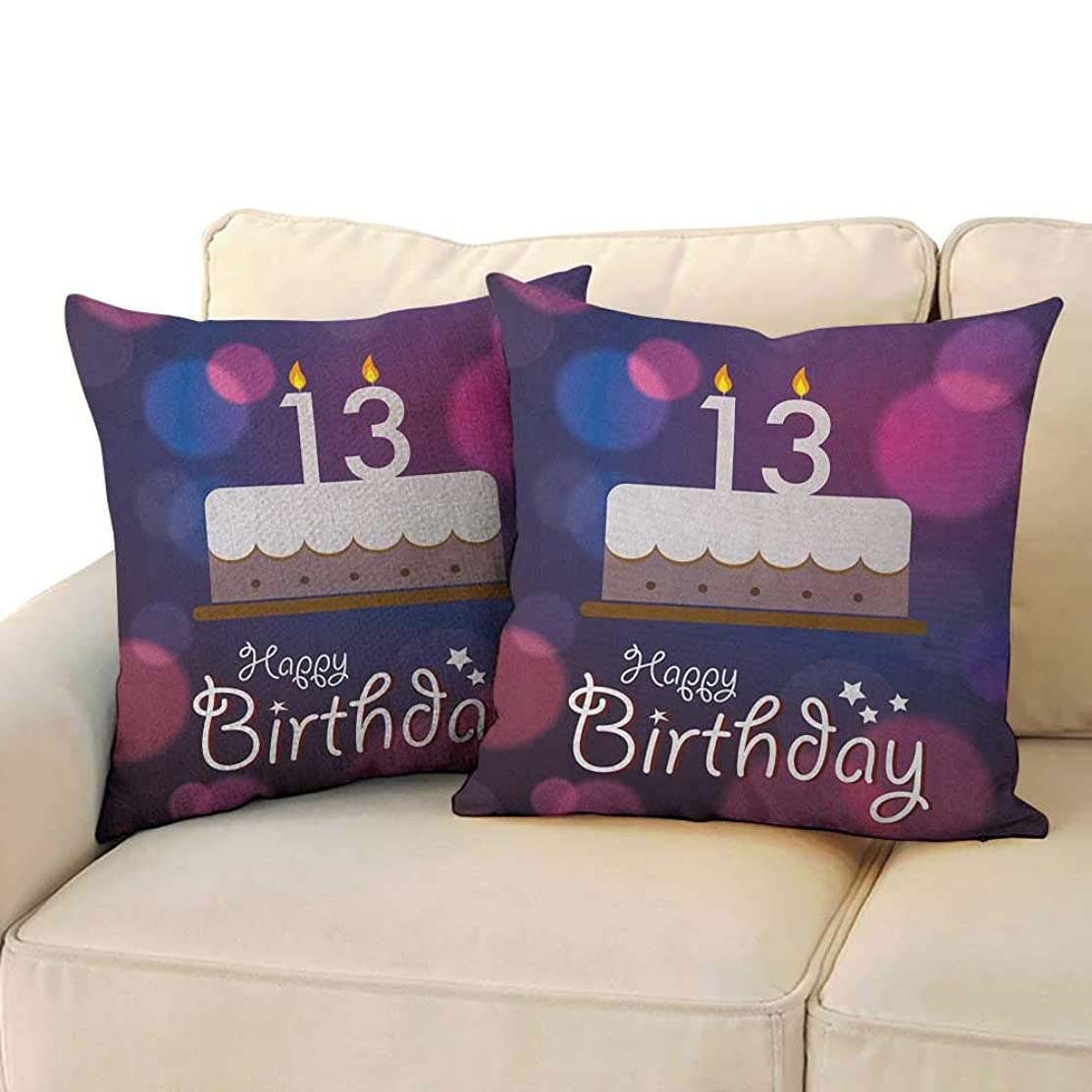 13th Birthday,Square Body Pillowcase Hand Drawn Style Party Cake with Number Candles on Abstract Backdrop 24