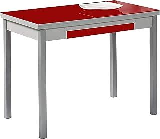 ASTIMESA Alas Cristal Table de Cuisine, métal, Rouge, 90 x 50 cm