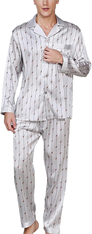 FMOGG Mens Pyjamas 95% Mulberry Silk Nightwear Sets Long Sleeve and Long Pants Button Down Two-Piece Sleepwear Loungewear M-XXL