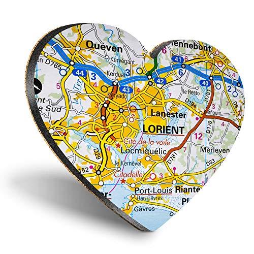 Posavasos con forma de corazón de MDF, diseño de corazón de Lorient Seaport Francia, con mapa de viaje francés, con calidad brillante, protección de mesa para cualquier tipo de mesa #45614