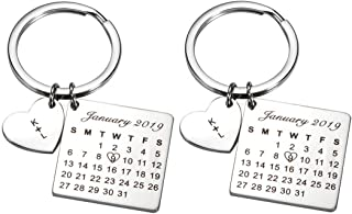 Personalized Custom Date Calendar Heart Keychain Pendant Key Ring Birthday Gift