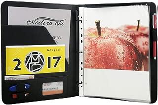 Freeprint 3 Ring Portfolio Binder with Writing Pad - PU Leather Professional Resume Padfolio Folder/Document Organizer for Interview & Business, Black