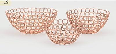 Benzara BM186854 Metal Bowls with Geometric Design, Set of Three, Copper