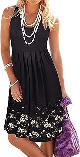Women Dress, Womens Halter Neck Boho Print Short Sundress Summer Sleeveless Casual Mini Beachwear Dress
